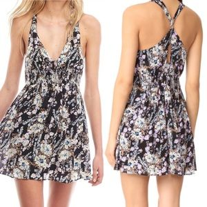 NWT Free People Black Floral Dress Washed Ashore